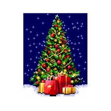Kanwa z nadrukiem do haftowania krzyżykowego Boże Narodzenie - Choinka