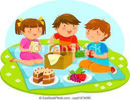 Sprytny, dzieciaki, piknik, trzy, razem, posiadanie. | CanStock